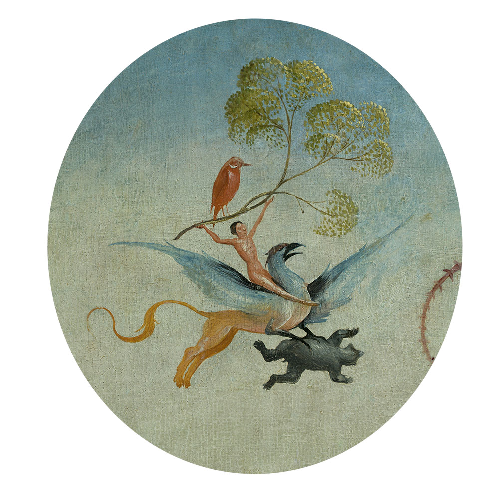 Children's search book - The Garden of Earthly Delights by Hieronymus Bosch - man riding a bird