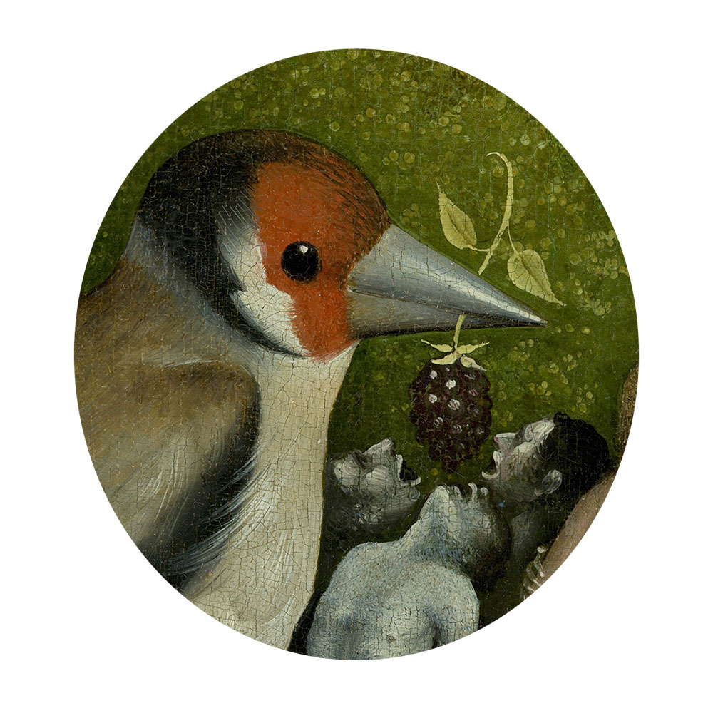 Children's search book - The Garden of Earthly Delights by Hieronymus Bosch - bird feeding berry to people