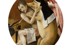 Children's search book - The Garden of Earthly Delights by Hieronymus Bosch - pig kissing man