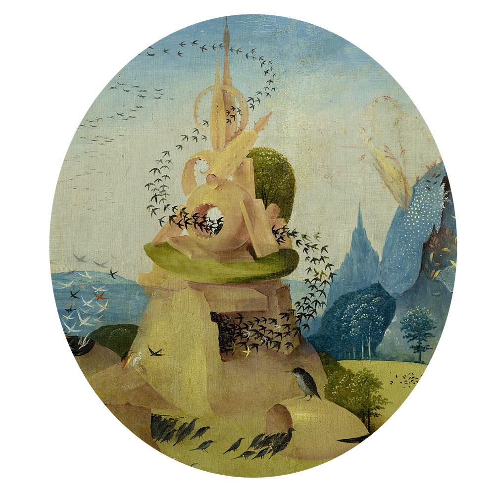 Children's search book - The Garden of Earthly Delights by Hieronymus Bosch - flocks of birds ascending