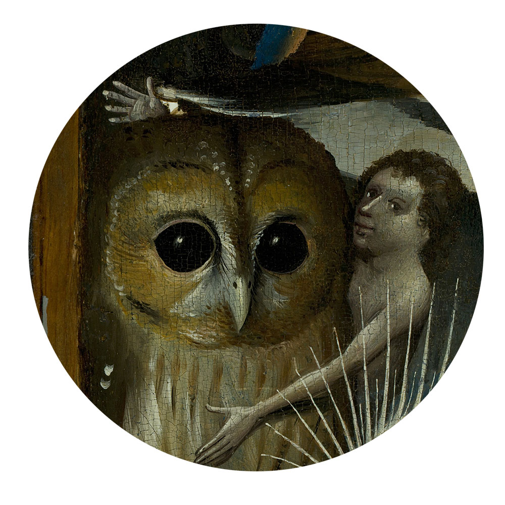 Children's search book - The Garden of Earthly Delights by Hieronymus Bosch - man hugging an owl