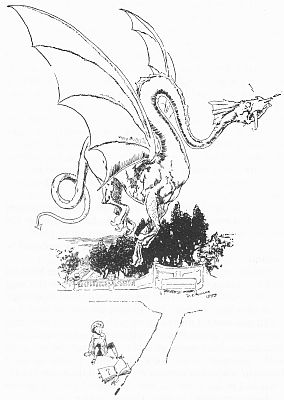 Dragon escaping from Edith Nesbit's children's story The Book of Beasts