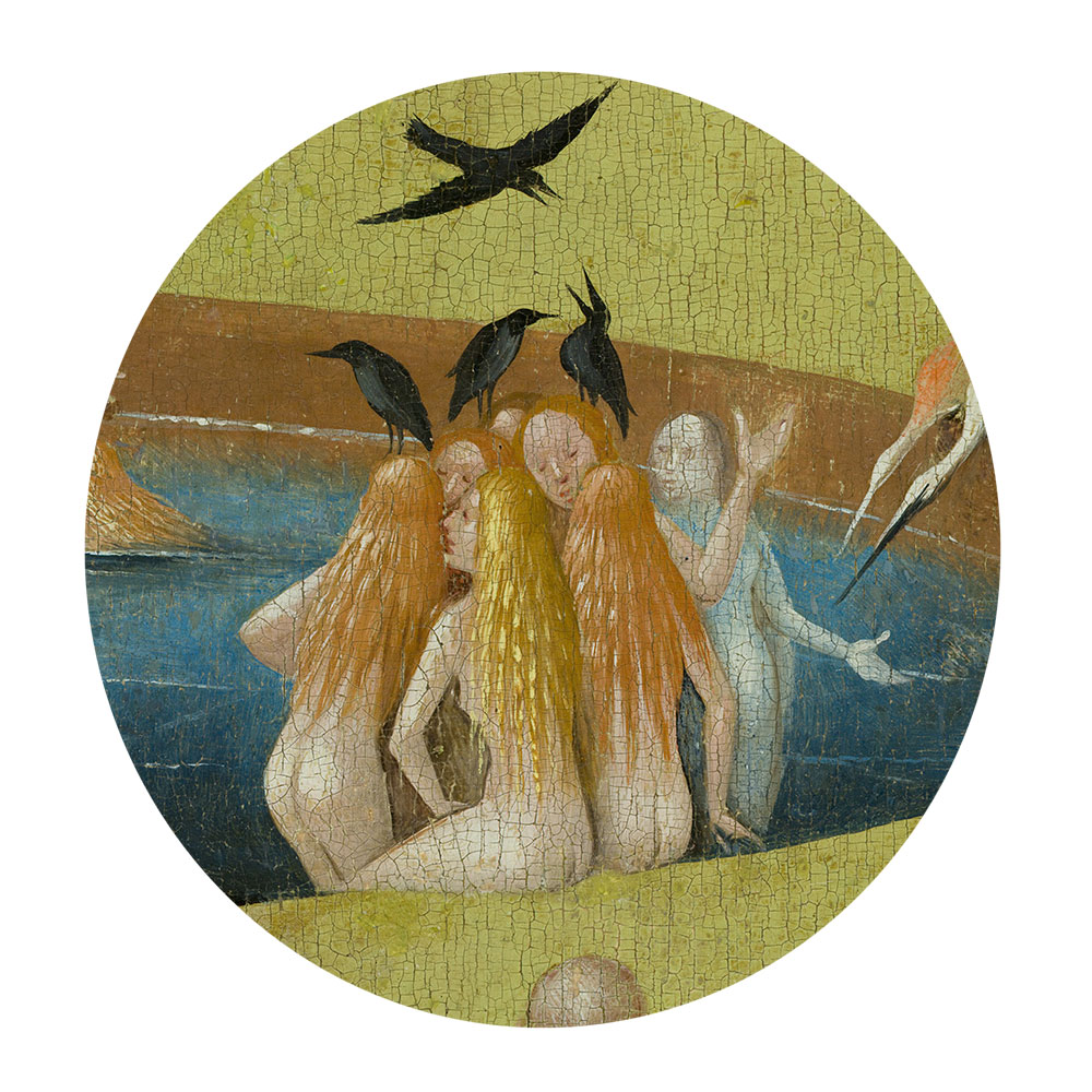 Children's search book - The Garden of Earthly Delights by Hieronymus Bosch - ladies with birds on their heads