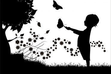 Illustration for children's poem My Shadow by Robert Louis Stevenson