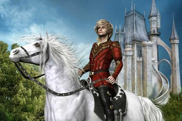 Illustration of prince on white horse for fairy tale long broad and sharpsight