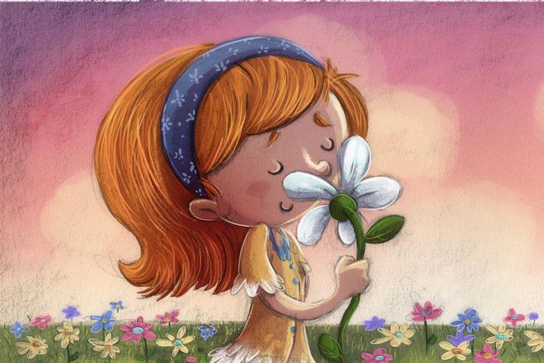 Heidi children's story online - illustration of girl smelling flower