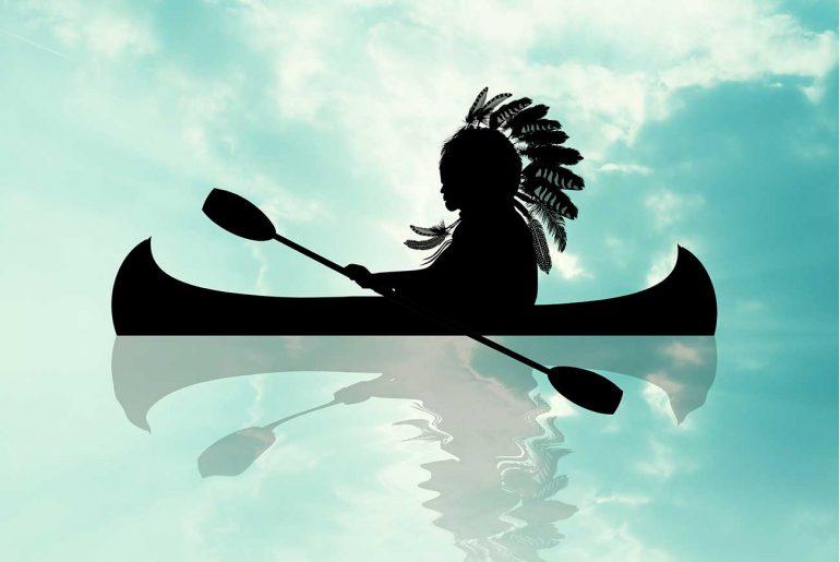 American Indian children's story fairytale The White Stone Canoe - header illustration