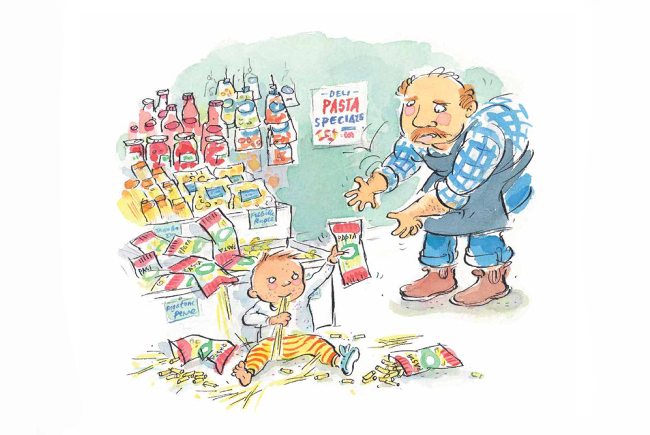 Our Last Trip To The Market by Lorin Clarke and Mitch Vane Illustration baby and pasta