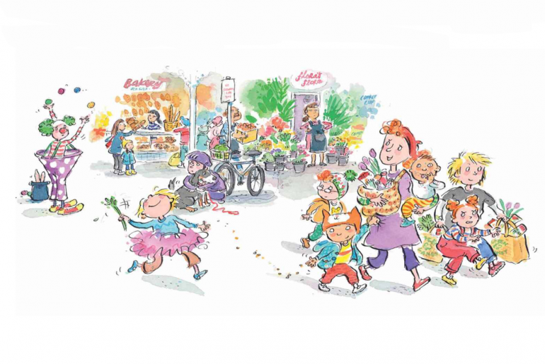Our Last Trip To The Market by Lorin Clarke and Mitch Vane Illustration Mum shopping with kids