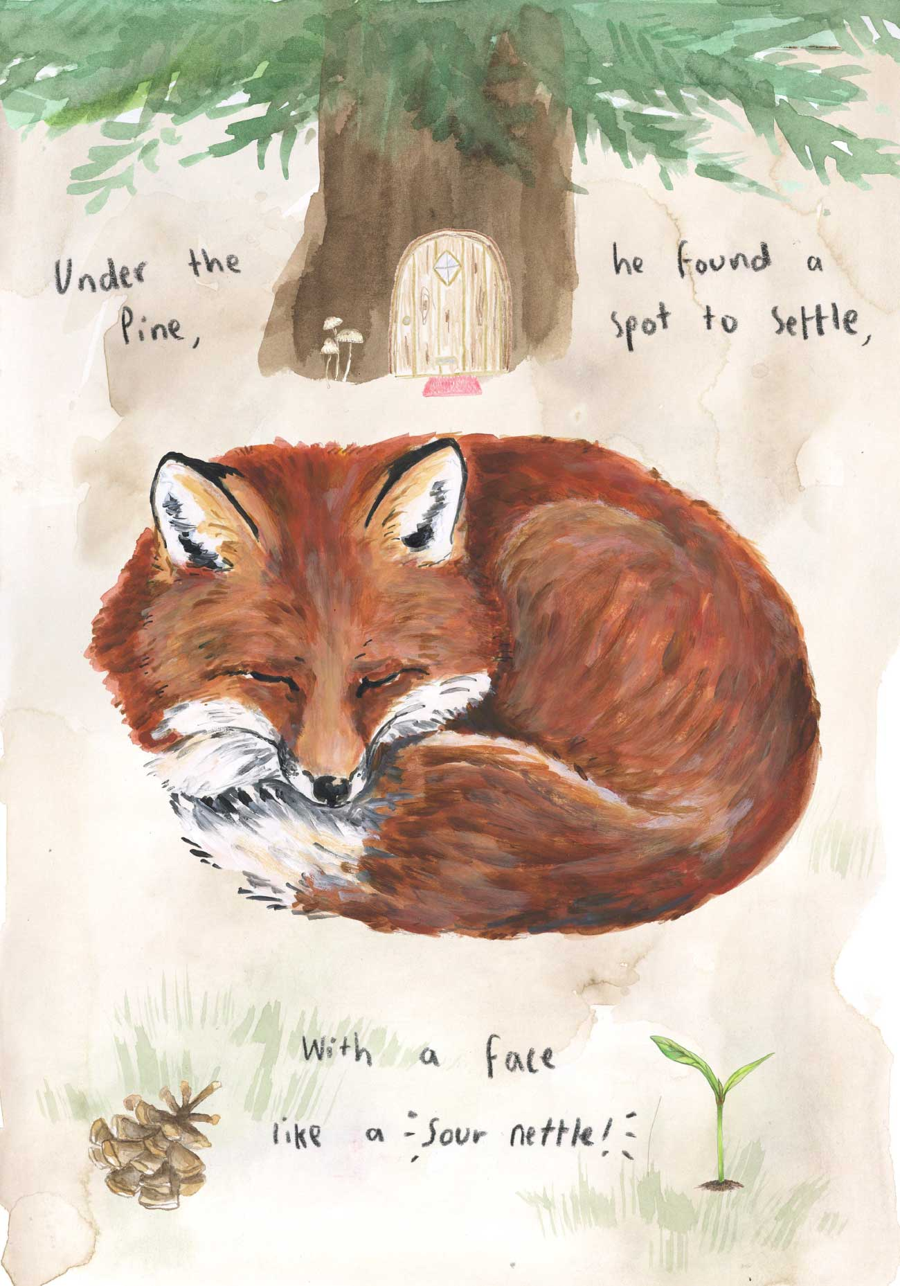 Kids bedtime story picture book Fox and the Pine page 12