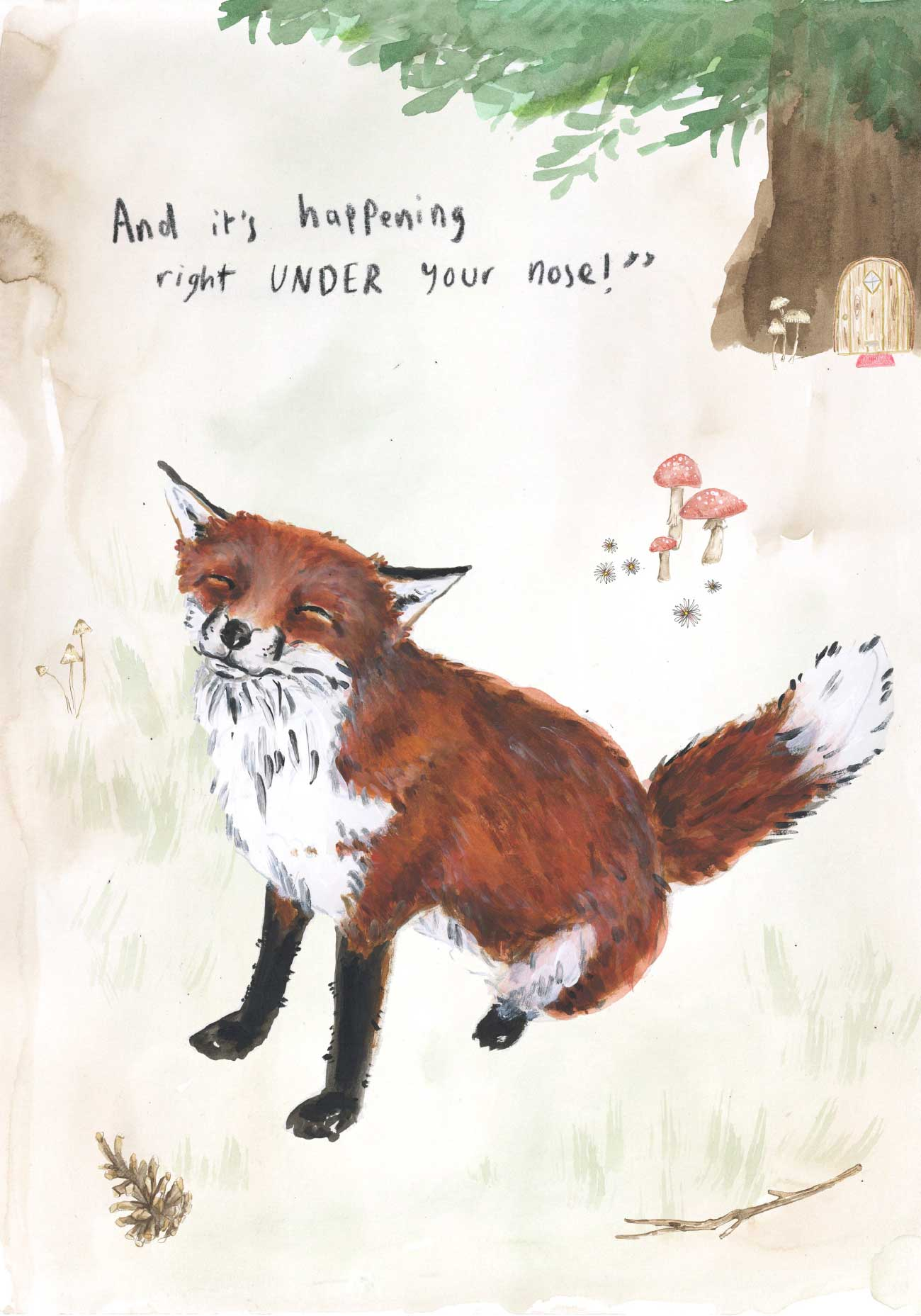 Kids bedtime story picture book Fox and the Pine page 19