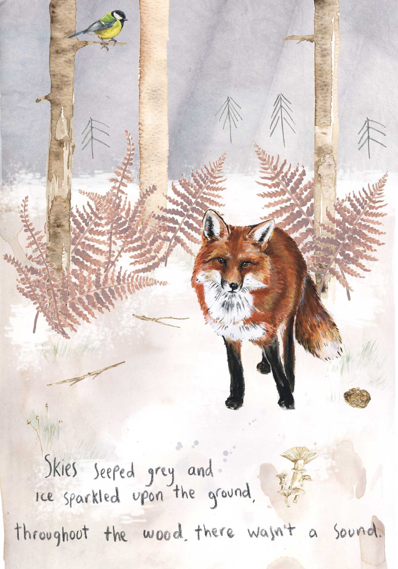 Kids bedtime story picture book Fox and the Pine page 6