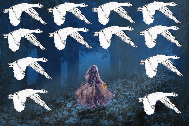 Short stories for kids Twelve Ducks fairytale illustration