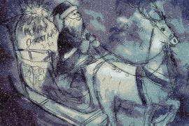 Illustration of Santa for kids xmas story December Magic