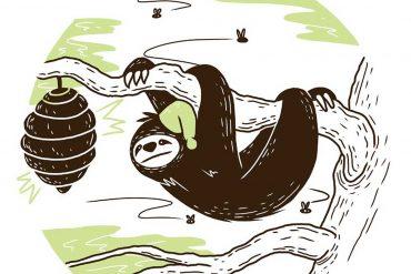 Sleepy Mr Sloth short stories for kids header illustration