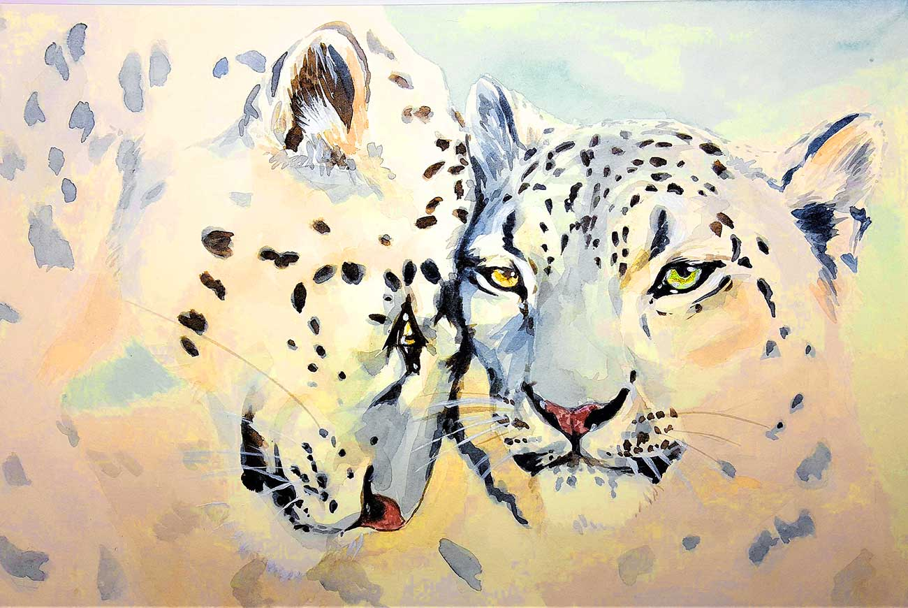 Short story for kids about peace- 100 White Doves illustration of leopards hugging