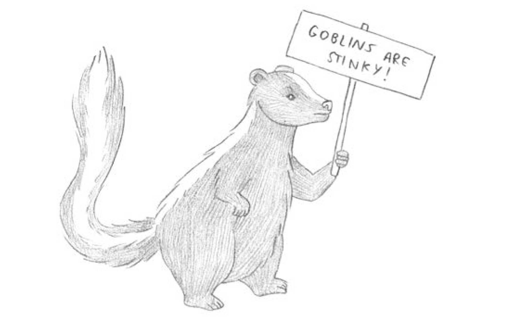 Stinky Goblin middle grade fiction chapter 8 illustration badger