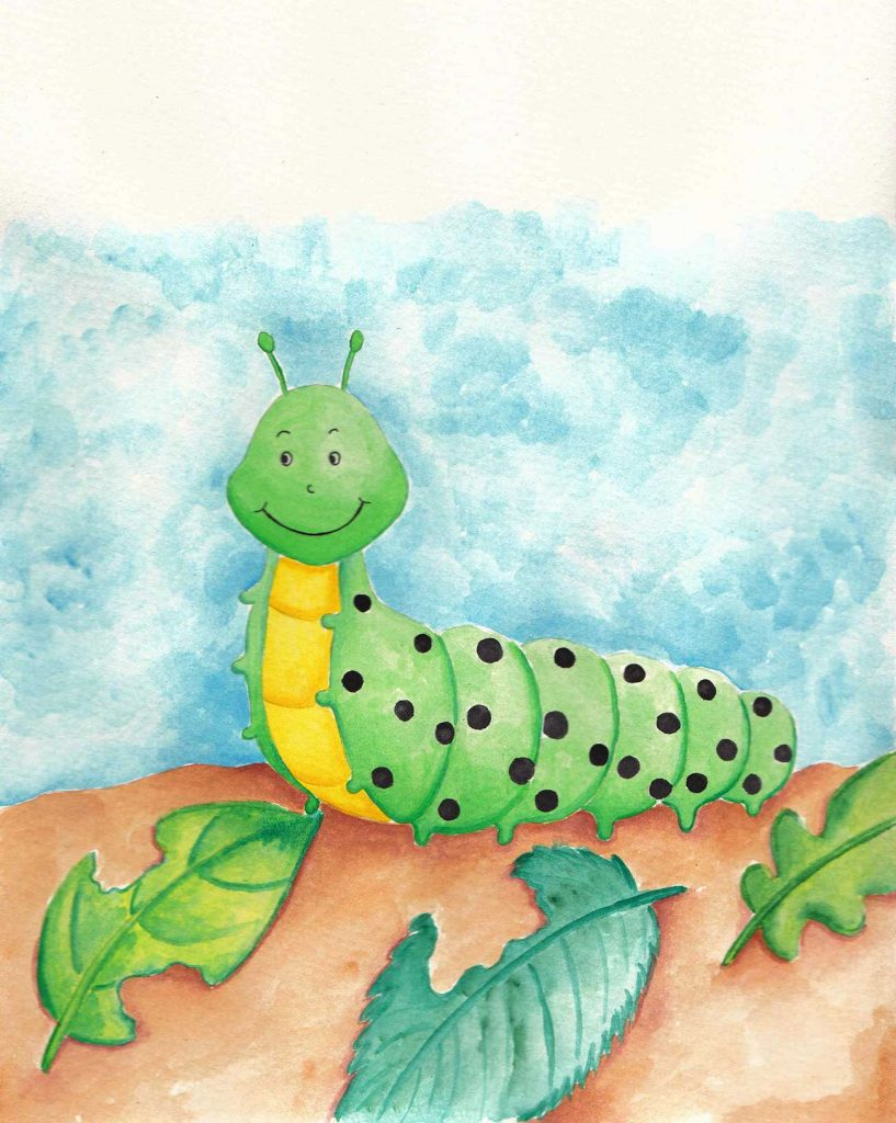 Illustration of smiling caterpillar for short story for kids The Not So Colorful Butterfly