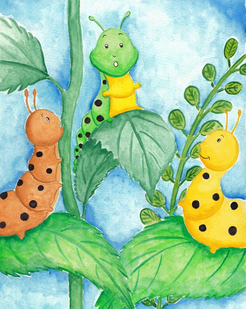 Illustration of caterpillars telling stories for short story for kids The Not So Colorful Butterfly