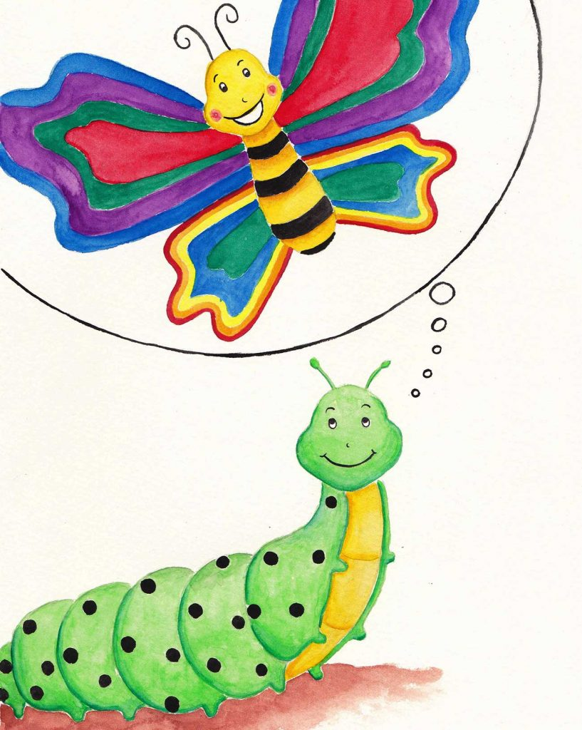 Illustration of dreaming caterpillar for short story for kids The Not So Colorful Butterfly
