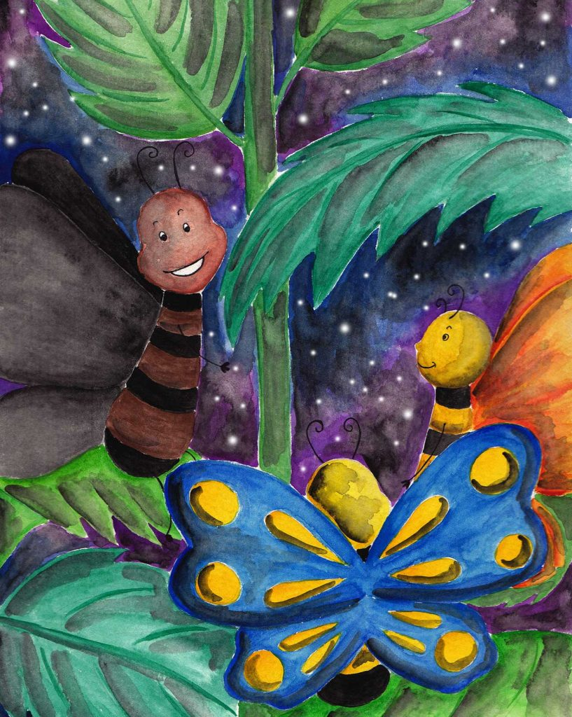 Illustration of happy butterfly friends for short story for kids The Not So Colorful Butterfly