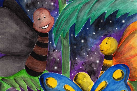 Illustration of happy butterfly friends