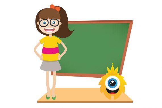 Poems for kids illustration girl making school speech