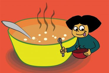 Bedtime story Yummy Happy Good Time Soup illustration