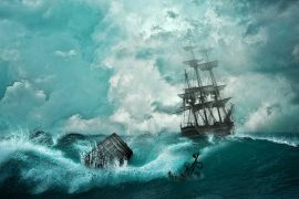Fairy tales Why The Sea Is Salt by Asbjornsen and Moe illustration of ship on ocean