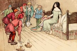 fairy tales Snow White and the Seven Dwarfs vintage illustration