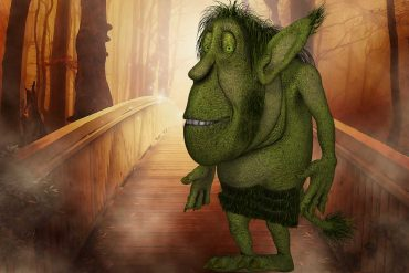 fairy tales stories for kids illustration of funny green man for Katherine Pyle's Oh