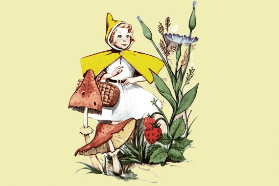 Fairy tales illustration Little Golden Hood