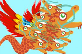 Chinese Fairy Tales The Bird With Nine Heads illustration