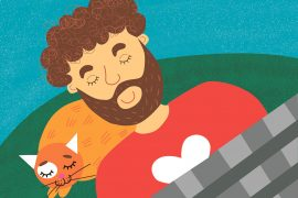 Phonics books Dad Can Nap early reader header illustration