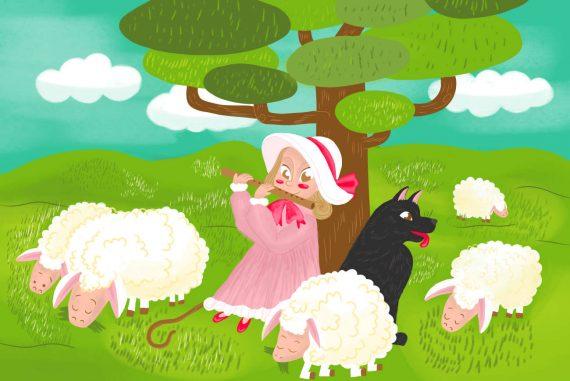 Nursery rhymes Little Bo Peep poems for kids illustration 1