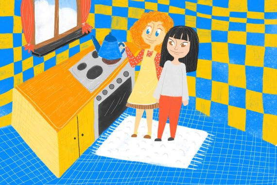 Nursery rhymes Polly Put The Kettle On poems for kids illustration 1