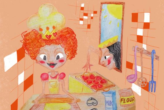 Nursery rhymes The Queen of Hearts she made some tarts poems for kids illustration 1