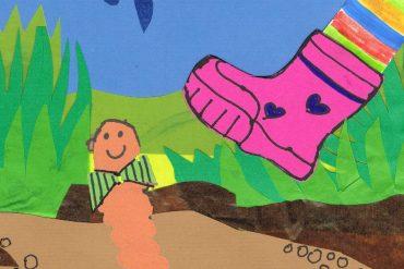 Bedtime stories Danger Worm short stories for kids header illustration