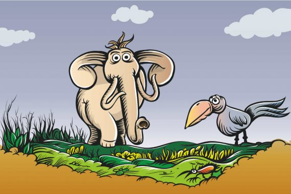 Poems for kids Elephant Followed Me Home funny poetry illustration